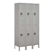 "Salsbury Extra Wide Metal Locker 52365 - Double Tier 3 Wide 15""W x 15""D x 36""H Gray Assembled"