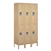 "Salsbury Extra Wide Metal Locker 52365 - Double Tier 3 Wide 15""W x 15""D x 36""H Tan Assembled"