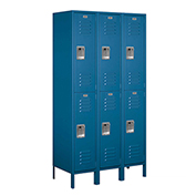 "Salsbury Extra Wide Metal Locker 52368 - Double Tier 3 Wide 15""W x 18""D x 36""H Blue Assembled"