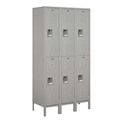 "Salsbury Extra Wide Metal Locker 52368 - Double Tier 3 Wide 15""W x 18""D x 36""H Gray Assembled"