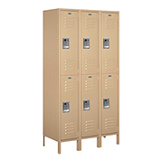 "Salsbury Extra Wide Metal Locker 52368 - Double Tier 3 Wide 15""W x 18""D x 36""H Tan Assembled"
