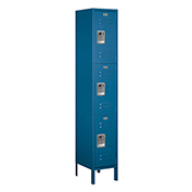 "Salsbury Extra Wide Metal Locker 53165 - Triple Tier 1 Wide 15""W x 15""D x 24""H Blue Unassembled"