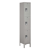 "Salsbury Extra Wide Metal Locker 53165 - Triple Tier 1 Wide 15""W x 15""D x 24""H Gray Unassembled"