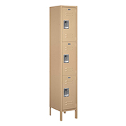 "Salsbury Extra Wide Metal Locker 53165 - Triple Tier 1 Wide 15""W x 15""D x 24""H Tan Assembled"