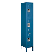 "Salsbury Extra Wide Metal Locker 53168 - Triple Tier 1 Wide 15""W x 18""D x 24""H Blue Assembled"