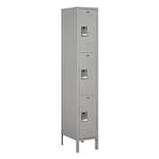 "Salsbury Extra Wide Metal Locker 53168 - Triple Tier 1 Wide 15""W x 18""D x 24""H Gray Assembled"