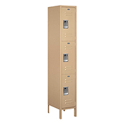 "Salsbury Extra Wide Metal Locker 53168 - Triple Tier 1 Wide 15""W x 18""D x 24""H Tan Assembled"