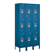 "Salsbury Extra Wide Metal Locker 53365 - Triple Tier 3 Wide 15""W x 15""D x 24""H Blue Assembled"