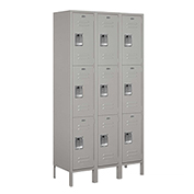"Salsbury Extra Wide Metal Locker 53365 - Triple Tier 3 Wide 15""W x 15""D x 24""H Gray Assembled"