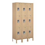 "Salsbury Extra Wide Metal Locker 53365 - Triple Tier 3 Wide 15""W x 15""D x 24""H Tan Assembled"