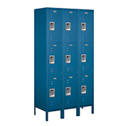 "Salsbury Extra Wide Metal Locker 53368 - Triple Tier 3 Wide 15""W x 18""D x 24""H Blue Assembled"