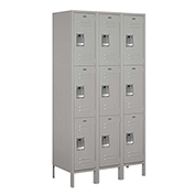 "Salsbury Extra Wide Metal Locker 53368 - Triple Tier 3 Wide 15""W x 18""D x 24""H Gray Assembled"