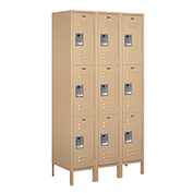 "Salsbury Extra Wide Metal Locker 53368 - Triple Tier 3 Wide 15""W x 18""D x 24""H Tan Assembled"