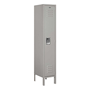 "Salsbury Metal Locker 61155 - Single Tier 1 Wide 12""W x 15""D x 60""H Gray Unassembled"