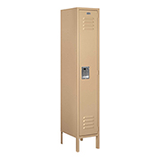 "Salsbury Metal Locker 61155 - Single Tier 1 Wide 12""W x 15""D x 60""H Tan Assembled"