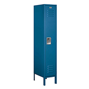 "Salsbury Metal Locker 61158 - Single Tier 1 Wide 12""W x 18""D x 60""H Blue Unassembled"