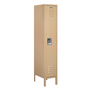 "Salsbury Metal Locker 61158 - Single Tier 1 Wide 12""W x 18""D x 60""H Tan Assembled"