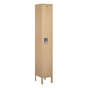 "Salsbury Metal Locker 61162 - Single Tier 1 Wide 12""W x 12""D x 72""H Tan Assembled"