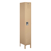 "Salsbury Metal Locker 61168 - Single Tier 1 Wide 12""W x 18""D x 72""H Tan Unassembled"