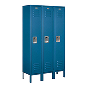 "Salsbury Metal Locker 61352 - Single Tier 3 Wide 12""W x 12""D x 60""H Blue Unassembled"