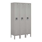 "Salsbury Metal Locker 61352 - Single Tier 3 Wide 12""W x 12""D x 60""H Gray Assembled"