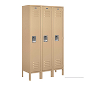"Salsbury Metal Locker 61352 - Single Tier 3 Wide 12""W x 12""D x 60""H Tan Assembled"