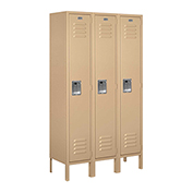 "Salsbury Metal Locker 61352 - Single Tier 3 Wide 12""W x 12""D x 60""H Tan Unassembled"
