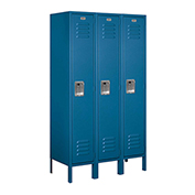 "Salsbury Metal Locker 61355 - Single Tier 3 Wide 12""W x 15""D x 60""H Blue Unassembled"