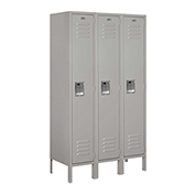 "Salsbury Metal Locker 61355 - Single Tier 3 Wide 12""W x 15""D x 60""H Gray Unassembled"