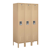"Salsbury Metal Locker 61355 - Single Tier 3 Wide 12""W x 15""D x 60""H Tan Unassembled"