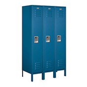 "Salsbury Metal Locker 61358 - Single Tier 3 Wide 12""W x 18""D x 60""H Blue Assembled"