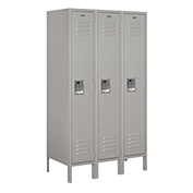 "Salsbury Metal Locker 61358 - Single Tier 3 Wide 12""W x 18""D x 60""H Gray Assembled"