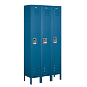 "Salsbury Metal Locker 61362 - Single Tier 3 Wide 12""W x 12""D x 72""H Blue Assembled"