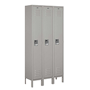 "Salsbury Metal Locker 61362 - Single Tier 3 Wide 12""W x 12""D x 72""H Gray Assembled"