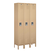 "Salsbury Metal Locker 61362 - Single Tier 3 Wide 12""W x 12""D x 72""H Tan Assembled"