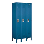 "Salsbury Metal Locker 61365 - Single Tier 3 Wide 12""W x 15""D x 72""H Blue Unassembled"