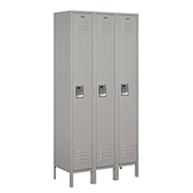 "Salsbury Metal Locker 61365 - Single Tier 3 Wide 12""W x 15""D x 72""H Gray Assembled"
