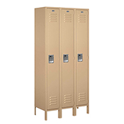 "Salsbury Metal Locker 61365 - Single Tier 3 Wide 12""W x 15""D x 72""H Tan Assembled"