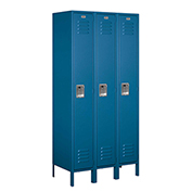 "Salsbury Metal Locker 61368 - Single Tier 3 Wide 12""W x 18""D x 72""H Blue Unassembled"