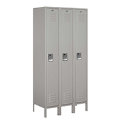 "Salsbury Metal Locker 61368 - Single Tier 3 Wide 12""W x 18""D x 72""H Gray Unassembled"