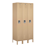 "Salsbury Metal Locker 61368 - Single Tier 3 Wide 12""W x 18""D x 72""H Tan Assembled"