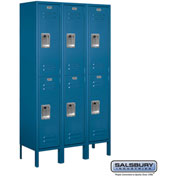 "Salsbury Metal Locker 62352 - Double Tier 3 Wide 12""W x 12""D x 30""H Blue Assembled"
