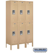 "Salsbury Metal Locker 62352 - Double Tier 3 Wide 12""W x 12""D x 30""H Tan Assembled"