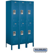 "Salsbury Metal Locker 62355 - Double Tier 3 Wide 12""W x 15""D x 30""H Blue Assembled"