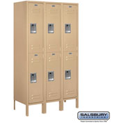 "Salsbury Metal Locker 62355 - Double Tier 3 Wide 12""W x 15""D x 30""H Tan Assembled"