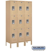 "Salsbury Metal Locker 63352 - Triple Tier 3 Wide 12""W x 12""D x 20""H Tan Unassembled"