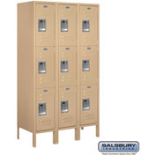 "Salsbury Metal Locker 63355 - Triple Tier 3 Wide 12""W x 15""D x 20""H Tan Unassembled"