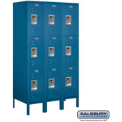 "Salsbury Metal Locker 63358 - Triple Tier 3 Wide 12""W x 18""D x 20""H Blue Assembled"