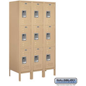 "Salsbury Metal Locker 63358 - Triple Tier 3 Wide 12""W x 18""D x 20""H Tan Assembled"