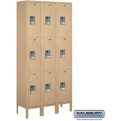 "Salsbury Metal Locker 63362 - Triple Tier 3 Wide 12""W x 12""D x 24""H Tan Unassembled"